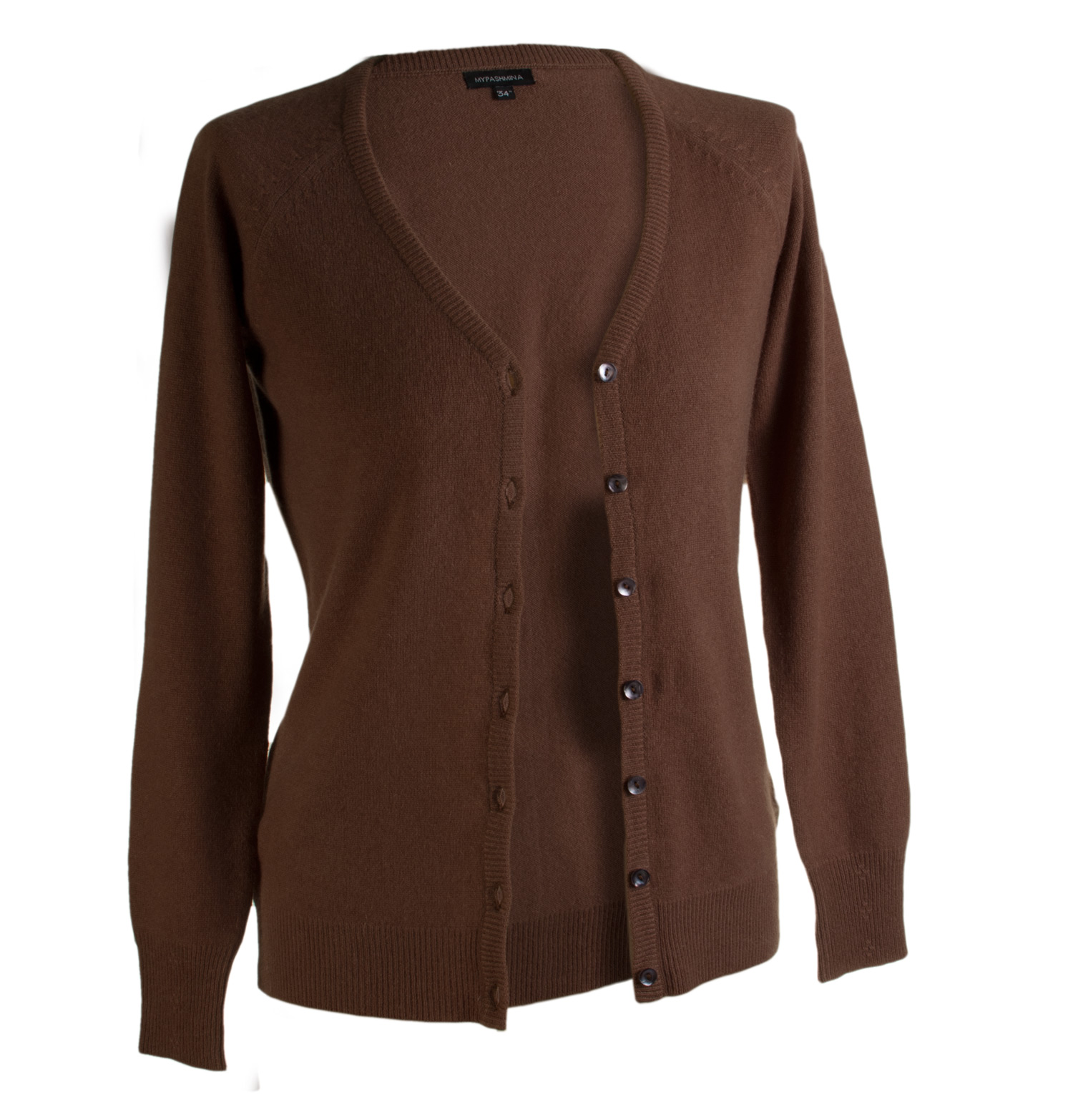 Ladies Cashmere Vneck Cardigan - Cocoa Brown