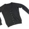 Ladies Cashmere V-Neck Cardigan - Melange Dark Grey