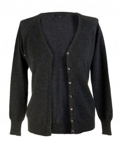Ladies Cashmere V-Neck Cardigan - Melange Dark Grey