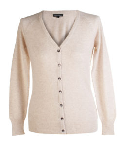 Ladies Cashmere V-Neck in Oatmeal