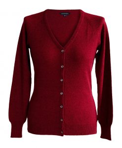 Ladies Cashmere V Neck + Melange Red