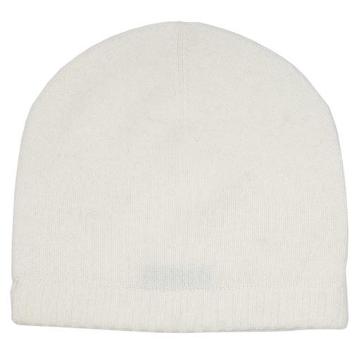 Ribbed Hem Hat - 100% Cashmere - Natural White