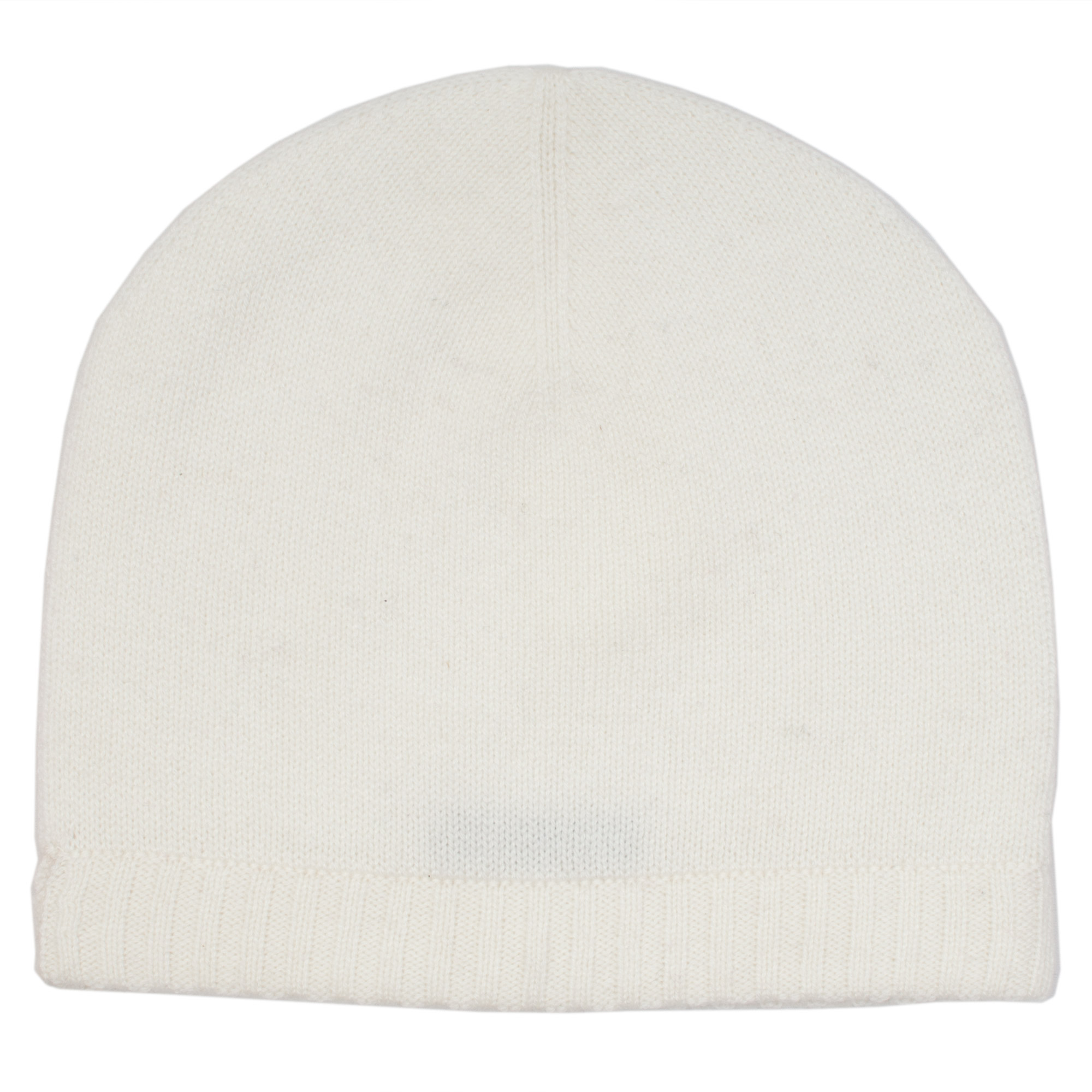 Ribbed Hem Hat - 100% Cashmere - Natural White
