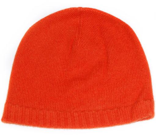 Ribbed Hem Hat - 100% Cashmere - Papaya