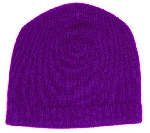 Ribbed Hem Hat - 100% Cashmere - Blackberry Cordial
