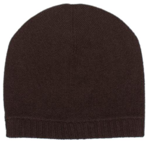Ribbed Hem Hat - 100% Cashmere - Coffee Bean