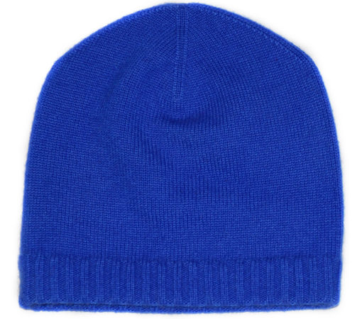 Ribbed Hem Hat - 100% Cashmere - Amparo Blue