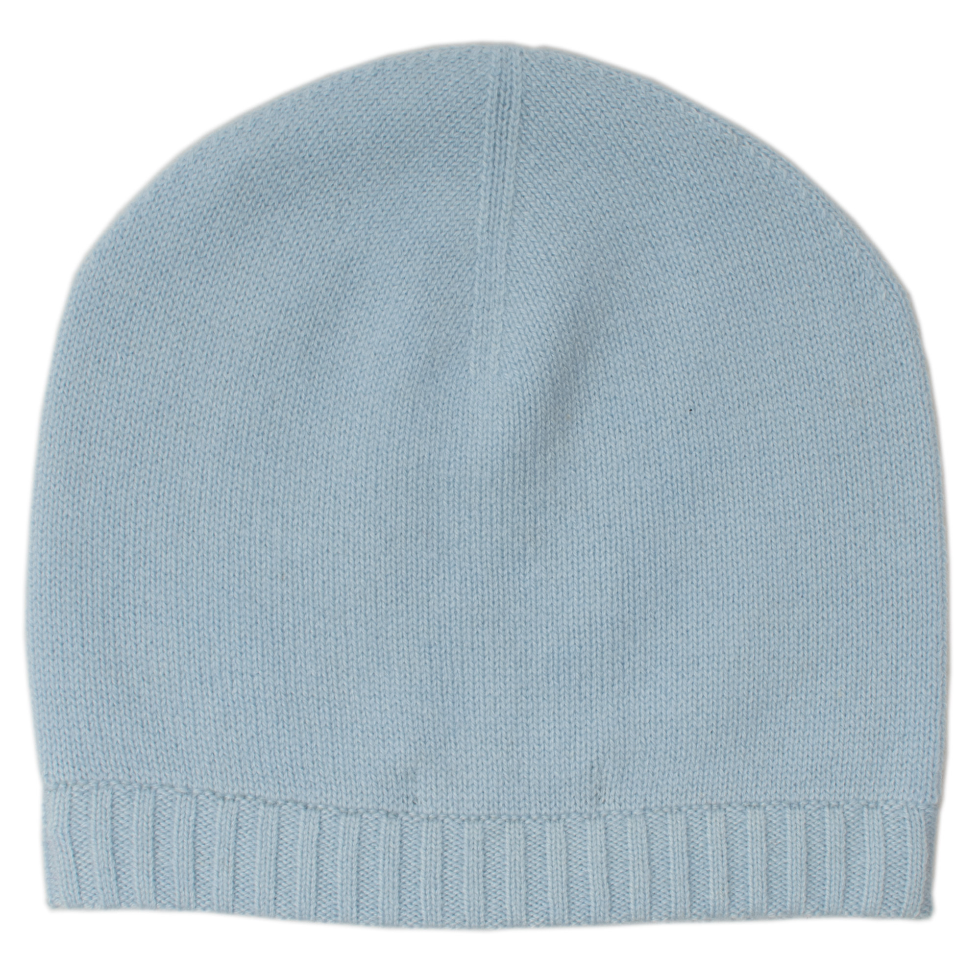 Ribbed Hem Hat - 100% Cashmere - Skyway