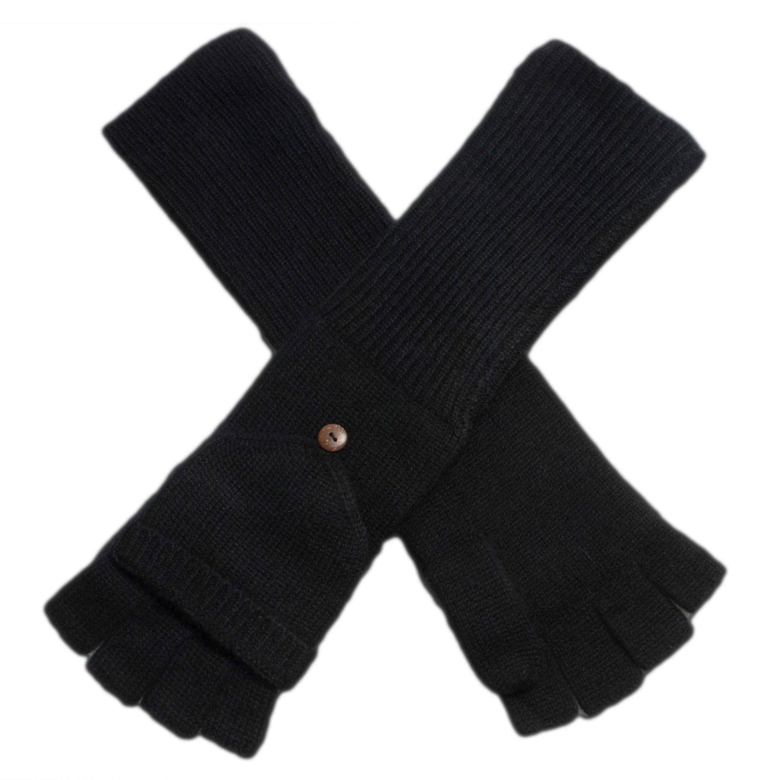 Ladies Cashmere On/Off Gloves - 100% Cashmere - Black mp09