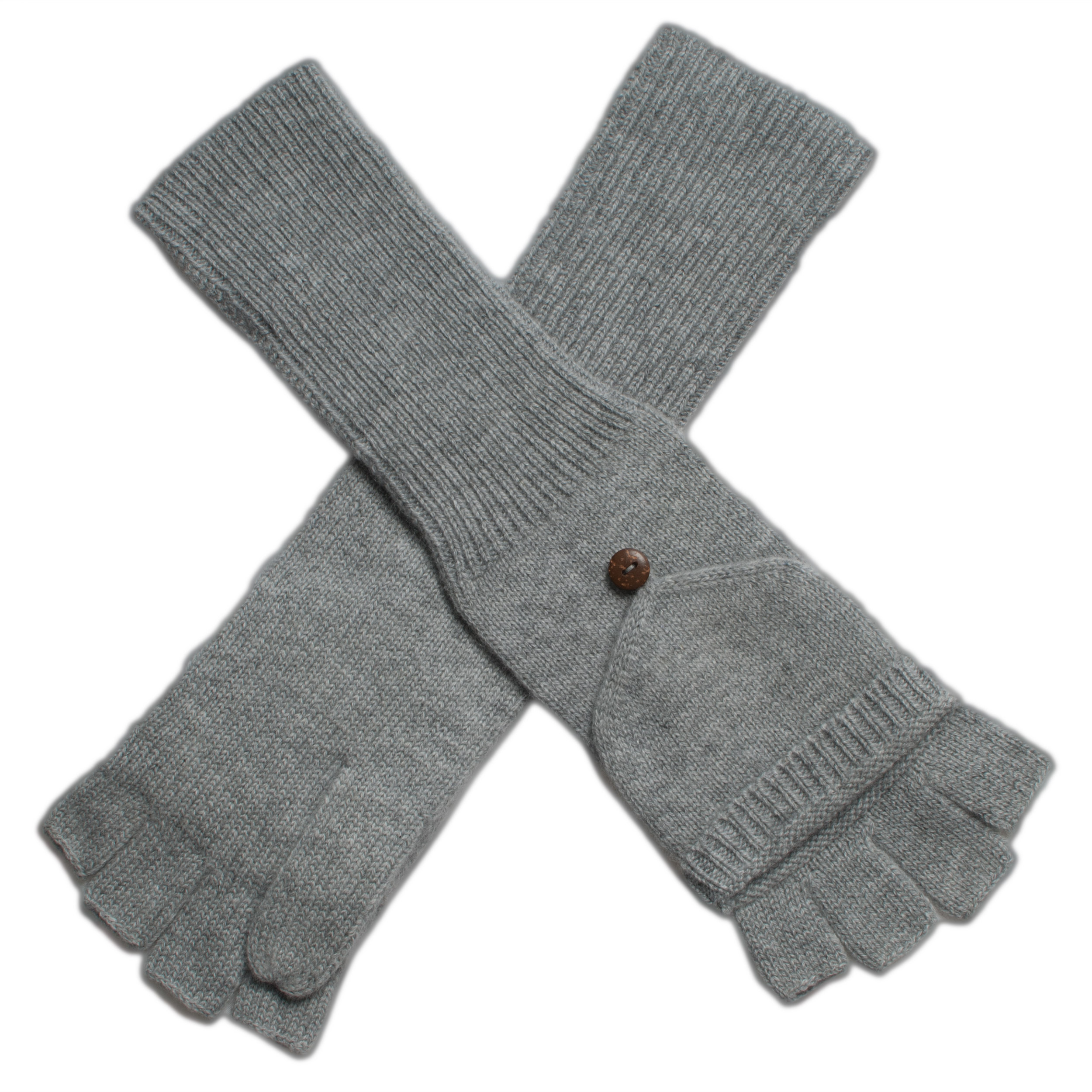 Ladies Cashmere On/Off Gloves - 100% Cashmere - Melange Light Grey mp500