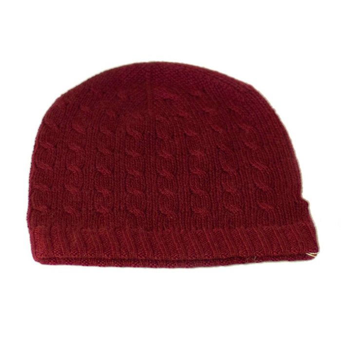 Cabled Hat - 100% Cashmere - Burgundy