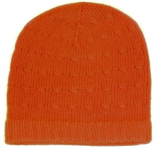 Cabled Hat - 100% Cashmere - Papaya