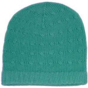 Cabled Hat - 100% Cashmere - Turquoise