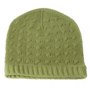 Cabled Hat - 100% Cashmere - Khaki