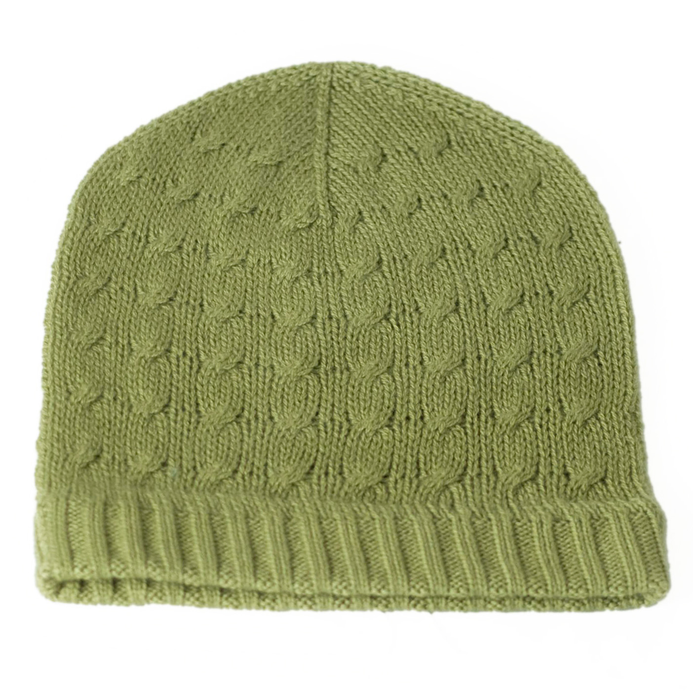 Cabled Hat - 100% Cashmere - Khaki