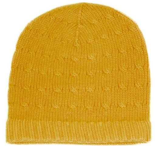 Cabled Hat - 100% Cashmere - Saffron