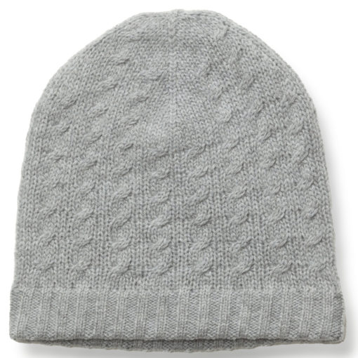 Cabled Hat - 100% Cashmere - Melange Light Grey