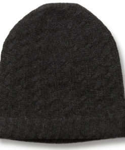 Cabled Hat - 100% Cashmere - Melange Dark Grey