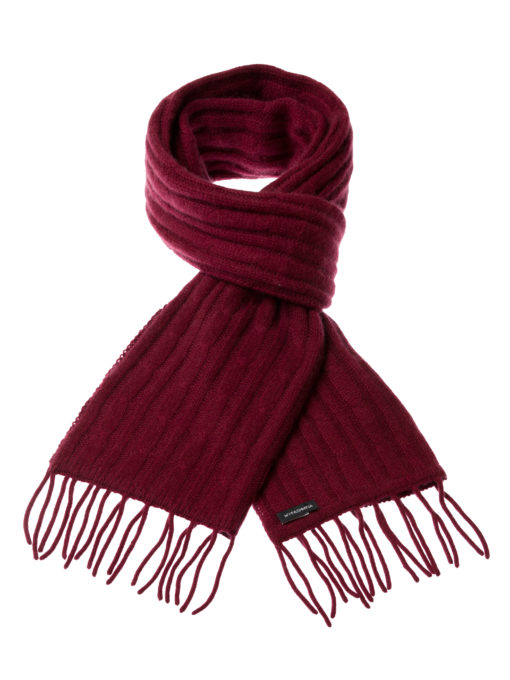 Cable Knit Scarf - 100% Cashmere - 35x180cm - Burgundy