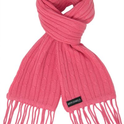 Cable Knit Scarf - 100% Cashmere - 35x180cm - Rapture Rose