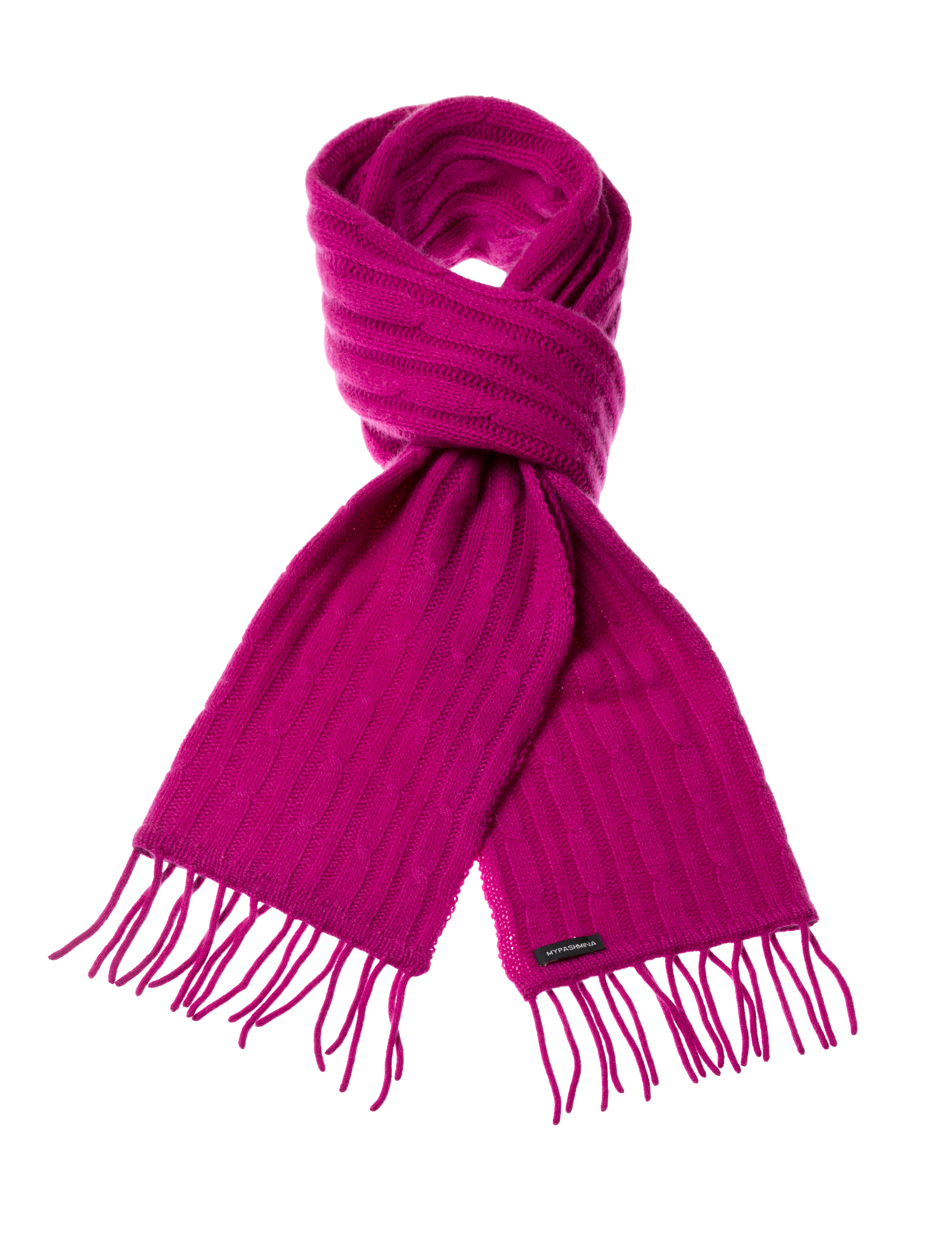 Cable Knit Scarf - 100% Cashmere - 35x180cm - Deep Orchid
