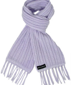 Cable Knit Scarf - 100% Cashmere - 35x180cm - Cosmic Sky
