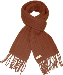 Cable Knit Scarf - 100% Cashmere - 35x180cm - Brownie
