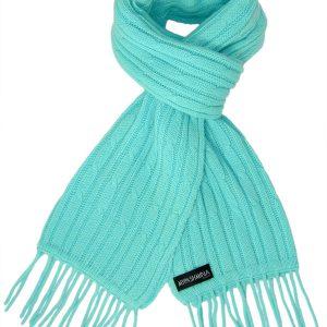 Cable Knit Scarf - 100% Cashmere - 35x180cm - Aqua Sky