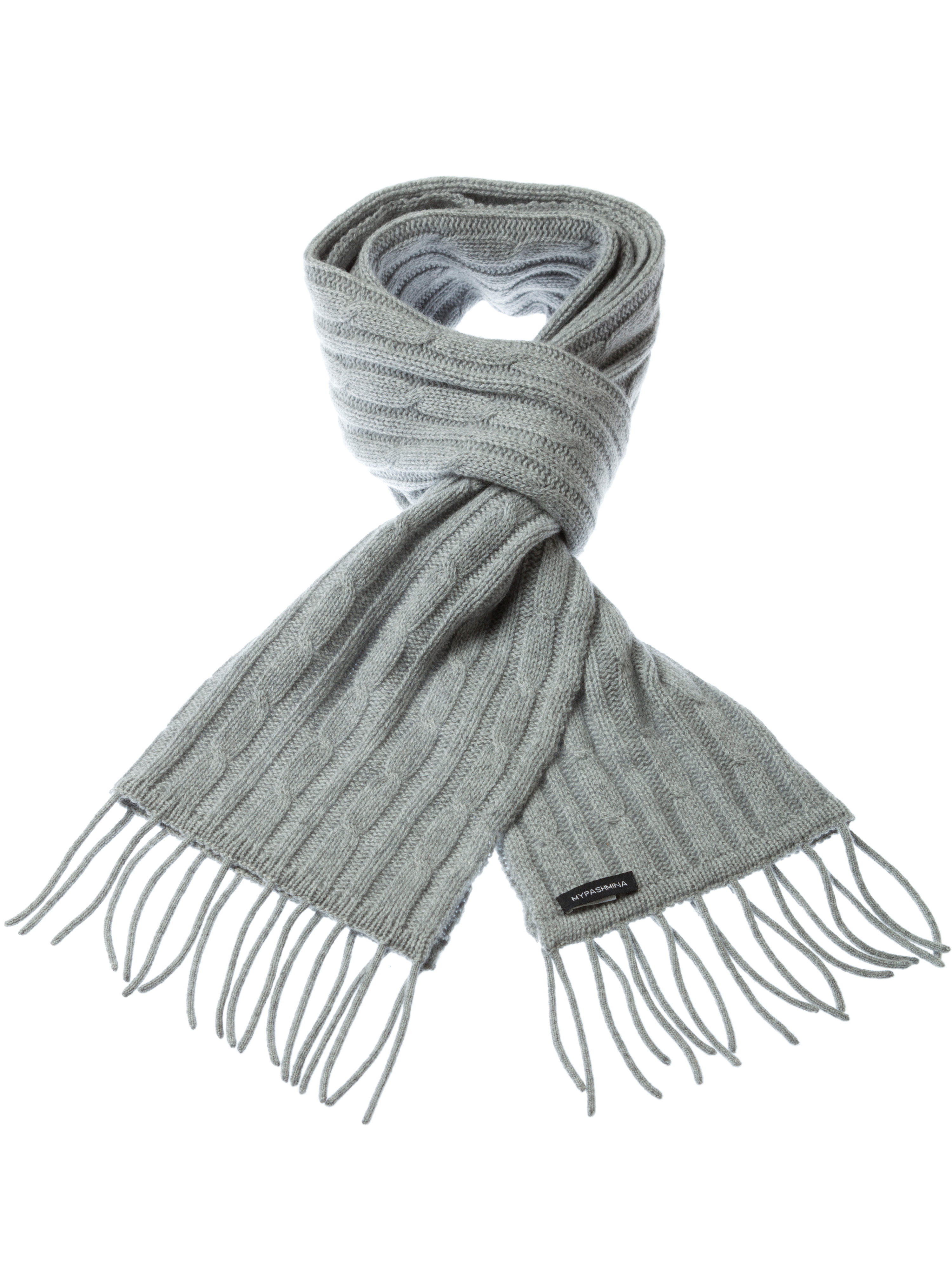Cable Knit Scarf - 100% Cashmere - 35x180cm - Melange Light Grey