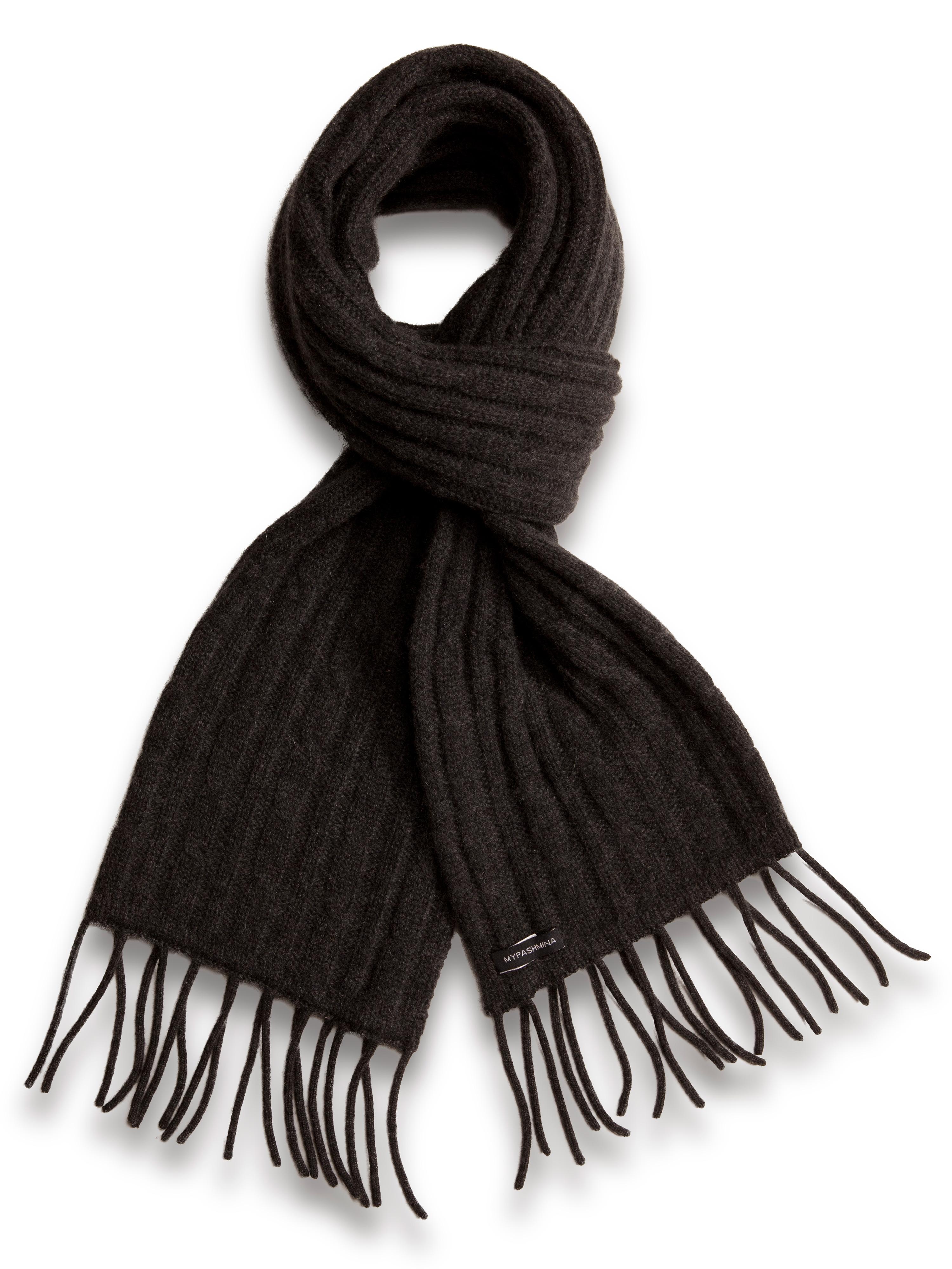 Cable Knit Scarf - 100% Cashmere - 35x180cm - Melange Dark Grey