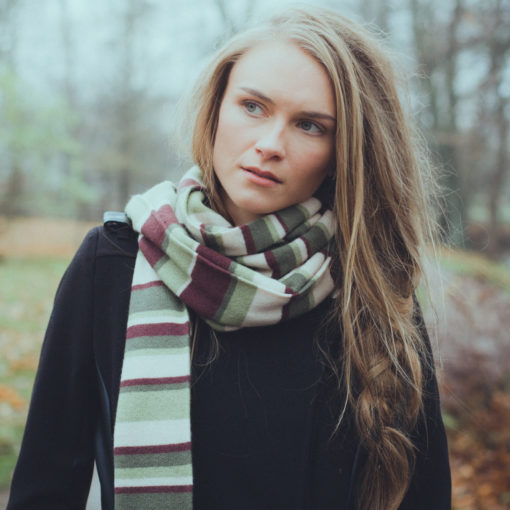 Knitted Stripey Scarf - 170x25cm - 100% Cashmere - Nautical