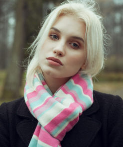 Knitted Stripey Scarf - 170x25cm - 100% Cashmere - Eat Cake