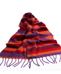 Knitted Stripey Scarf - 170x25cm - 100% Cashmere - Hot Sun