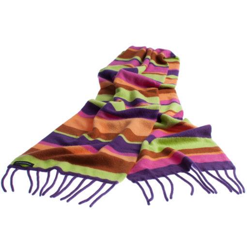 Knitted Stripey Scarf - 170x25cm - 100% Cashmere - Sugar
