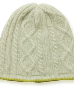 Cable Twist Hat - 100% Cashmere - Desert Sage mp79 / Mosstone mp80