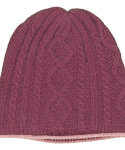 Cable Twist Hat - 100% Cashmere - Wild Ginger mp44 / Quartz Pink mp38