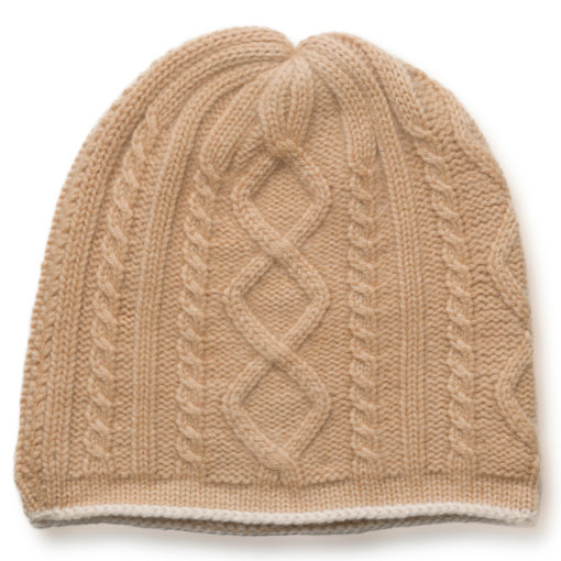Cable Twist Hat - 100% Cashmere - Candied Ginger mp66 / Sandshell mp76