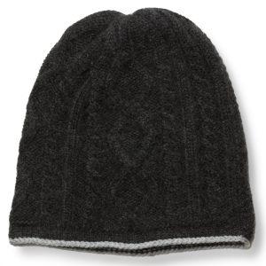 Cable Twist Hat - 100% Cashmere - Light Grey / Dark Grey