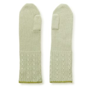 Cable Twist Mittens - 100% Cashmere - Desert Sage mp79 / Mosstone mp80