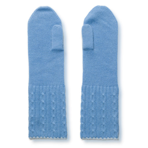 Cable Twist Mittens - 100% Cashmere - Provence mp105 / Skyway mp101