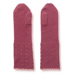 Cable Twist Mittens - 100% Cashmere - Wild Gingermp44 / Quartz Pink mp38