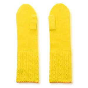 Cable Twist Mittens - 100% Cashmere - Buttercup mp12 / Apricot mp18