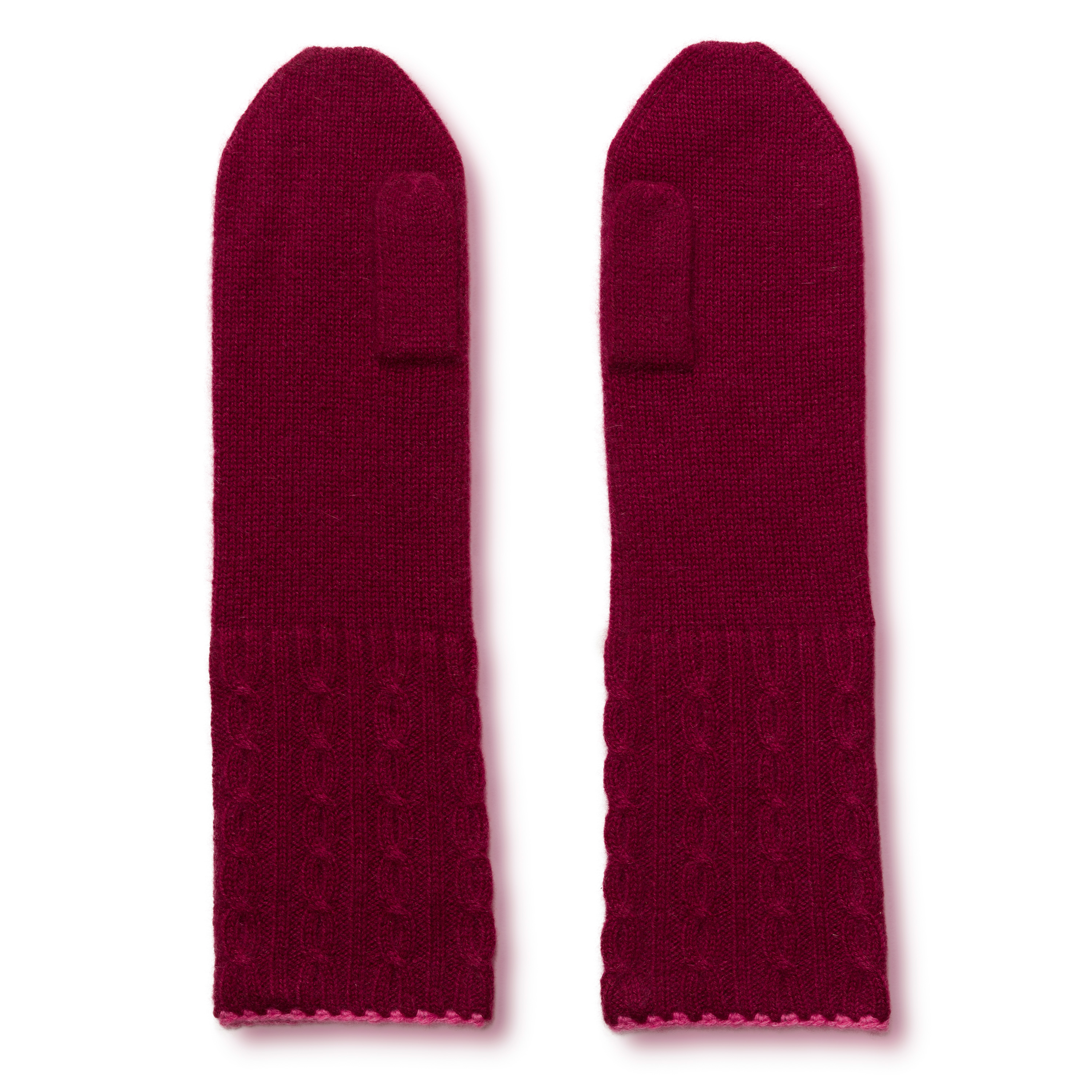 Cable Twist Mittens - 100% Cashmere - Rhododendron mp27 / Carmine mp32