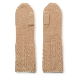 Cable Twist Mittens - 100% Cashmere - Candied Ginger mp66 / Sandshell mp76