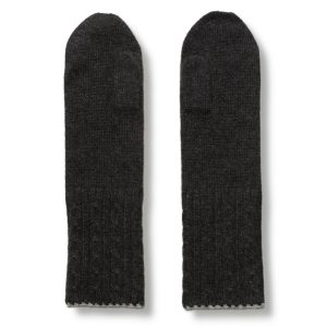 Cable Twist Mittens - 100% Cashmere - Light Grey / Dark Grey