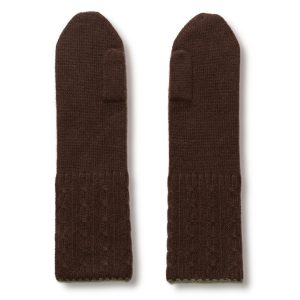 Cable Twist Mittens - 100% Cashmere - Coffee Bean mp72 / Grape Leaf mp84