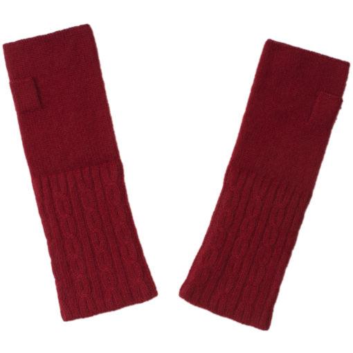 Cable Wristwarmer - 100% Cashmere - Rio Red