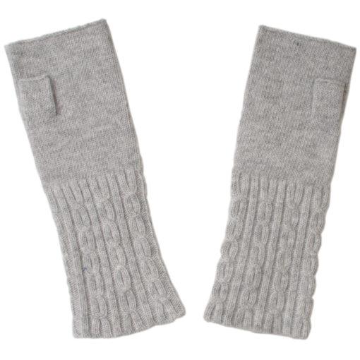 Cable Wristwarmer - 100% Cashmere - Melange Light Grey