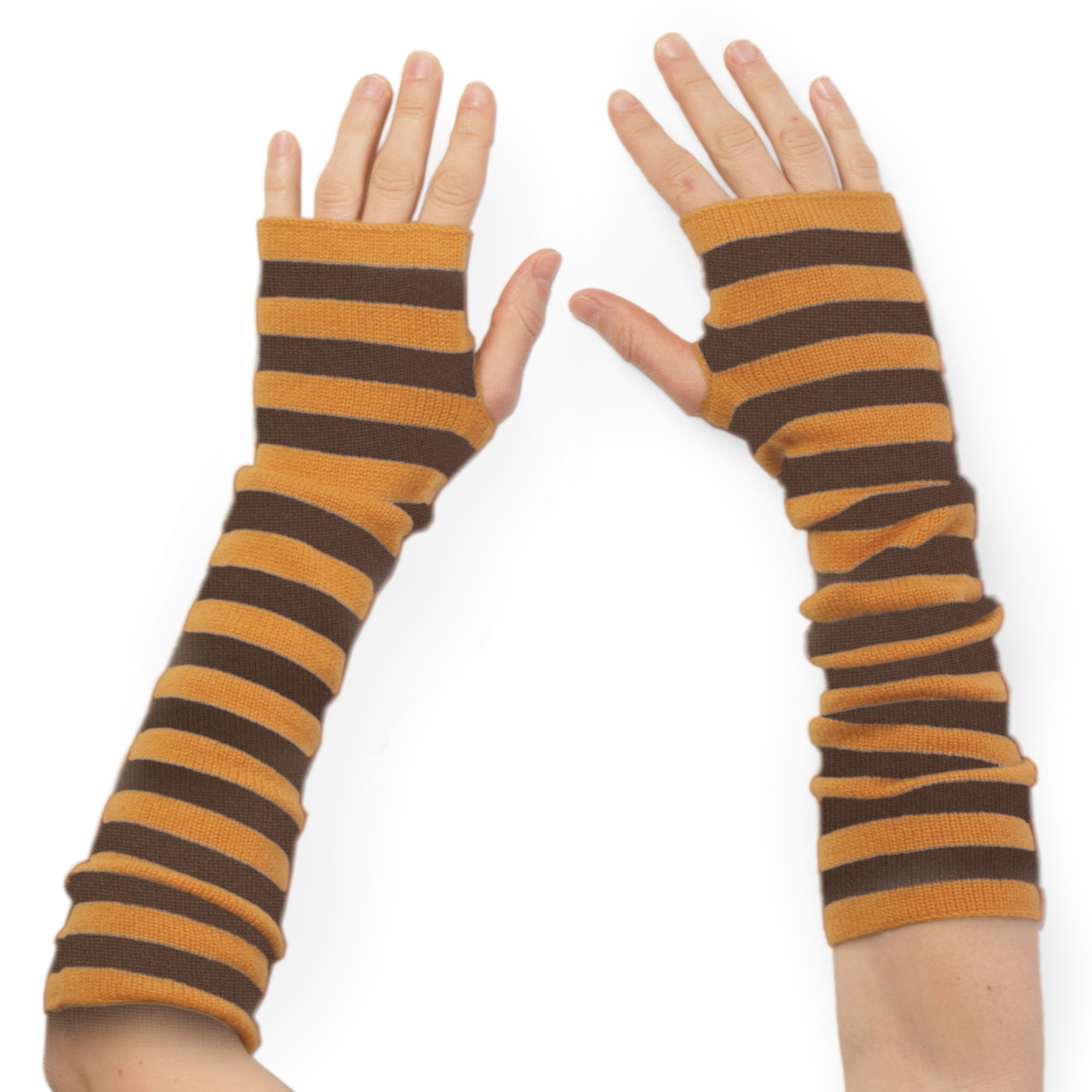 Stripey Wristwarmers - 100% Cashmere - Ginger Bread/Sepia