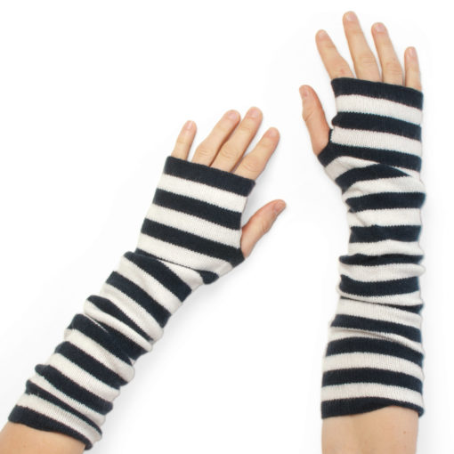 Stripey Wristwarmers - 100% Cashmere - Dark Navy/White